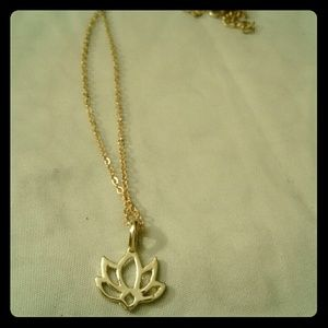 Dainty lotus flower pendant with gold color chain